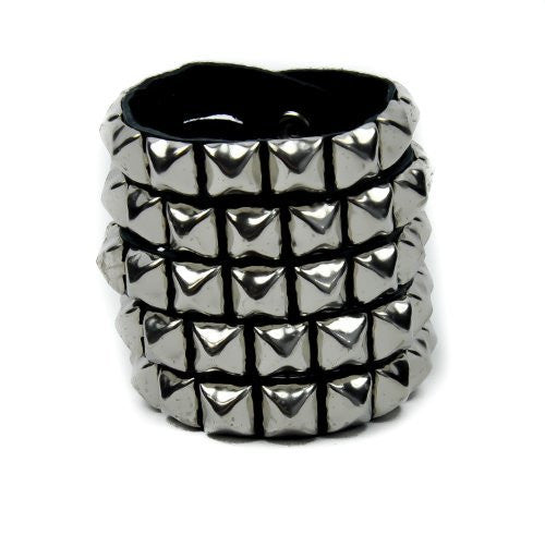 5 Row Split Pyramid Stud Leather Wristband by Dysfunctional Doll Metal