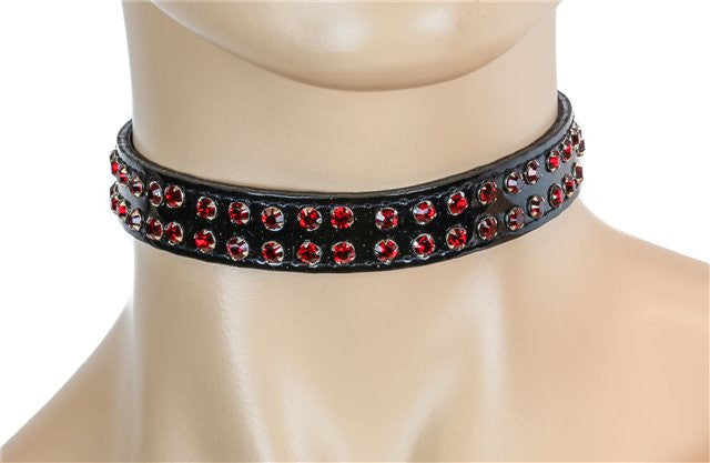 Double 2 Row Red Rhinestone on Black Patent Leather PVC Choker Collar Burlesque