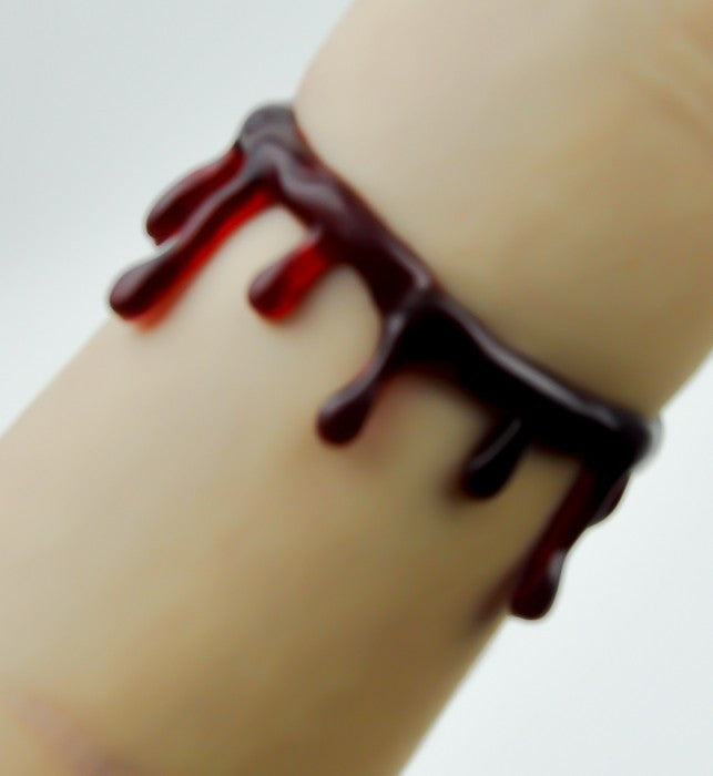 Red Blood Drip Bracelet FX Suicide Wristband Metal