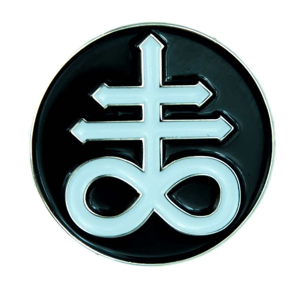 Crux Satanus Leviathan Cross Lapel Pin Occult Jewelry Black Sulphur Jacket Pin