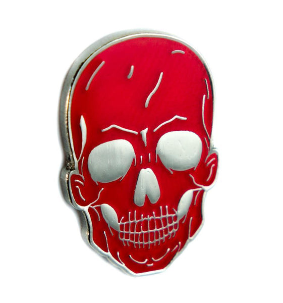 Red Death Skull Lapel Pin Gothic Punk Metal Psychobilly