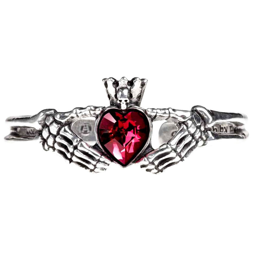 Alchemy Gothic Claddagh By Night Bracelet Red Heart w/ Skull & Skeleton Hands