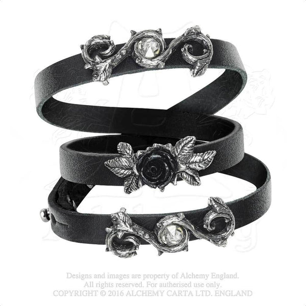 Alchemy Gothic Black Rose Of Perfection Wristrap Bracelet Wristband