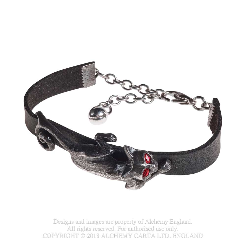 Alchemy Gothic Black Cat Sith Bracelet Leather Wristband
