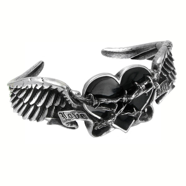 Alchemy Gothic Black Heart & Thorns Romance Bracelet Cuff