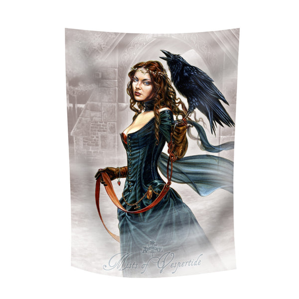 Alchemy Gothic Mists of Vespertide Flag Girl with Raven Crow