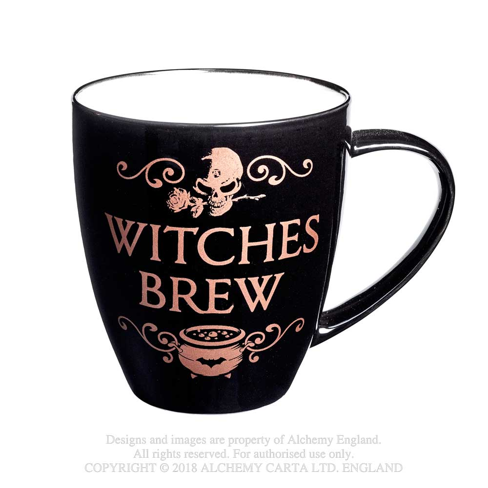 Alchemy Gothic Witches Brew Skull Rose Cauldron Mug