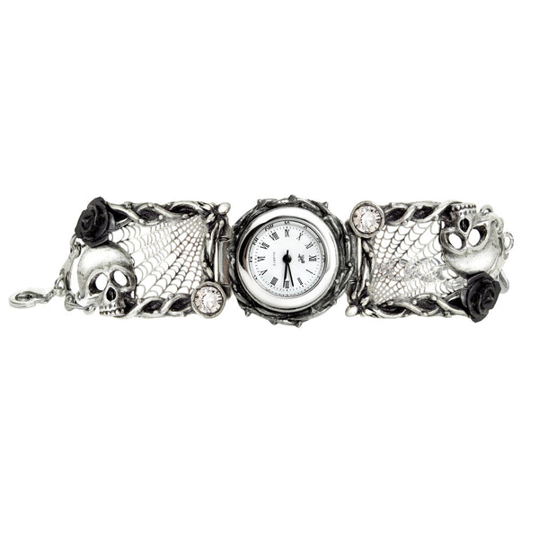 Alchemy Gothic Rose Garden Skulls & Cobwebs Watch
