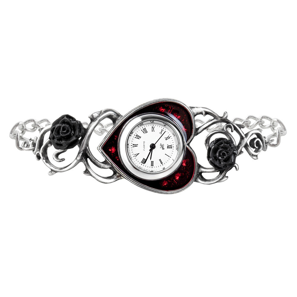 Alchemy Gothic Bed Of Blood Red Heart Black Roses Watch