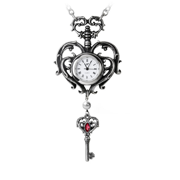 Alchemy Gothic Temp De Sentiment Fob Heart & Key Watch Pendant Necklace