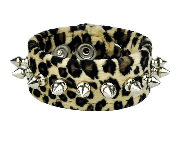"1/2"" Spikes Brown Velvet Leopard Wristband Bracelet Cuff 1-1/2"" Wide"