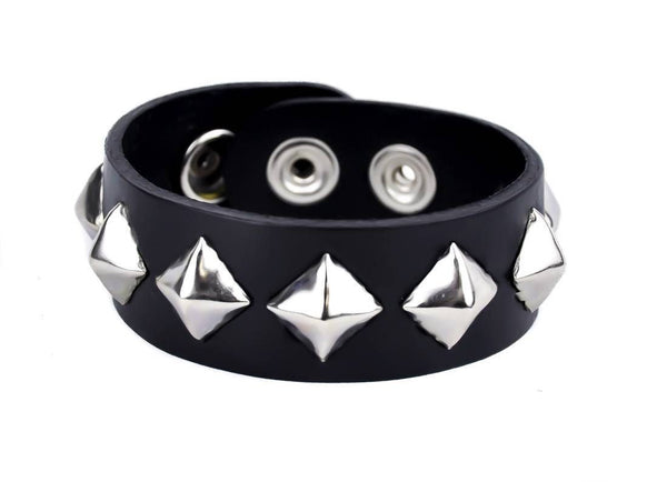 "1 Row Silver Pyramid Diamond Stud Quality Black Leather Wristband Cuff Bracelet 1"" Wide"
