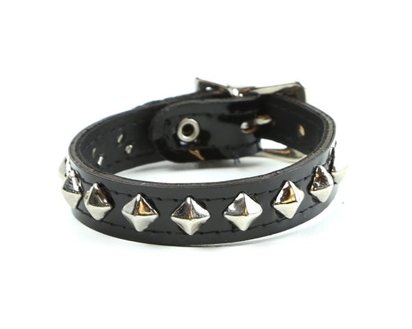 1-Row Mini Diamond Stud Black Patent Leather Wristband Bracelet
