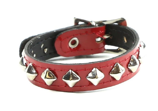 1-Row Mini Diamond Stud Red Patent Leather Wristband Bracelet