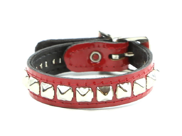 1-Row Mini Pyramid Stud Red Patent Leather Wristband Bracelet