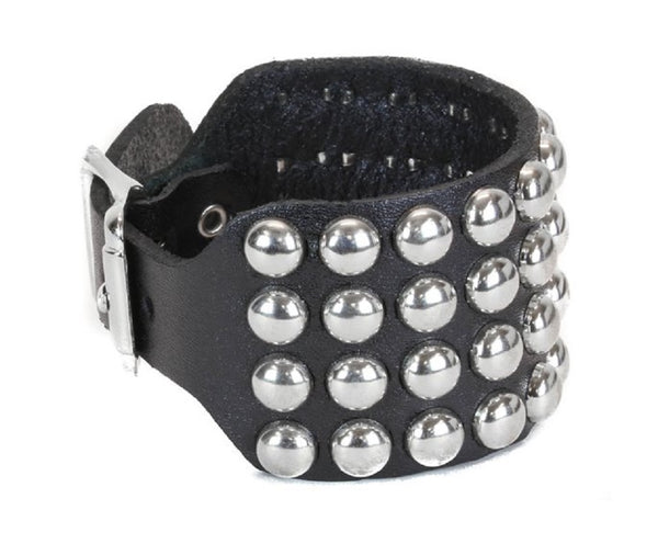 4-Row Silver Round Stud Leather Wristband Cuff w/ Buckle Closure