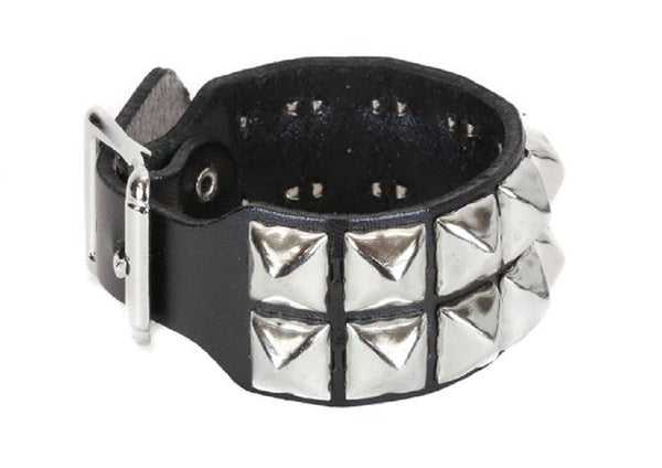 2-Row Silver Pyramid Stud Black Leather Wristband Cuff Bracelet w/ Buckle Closure