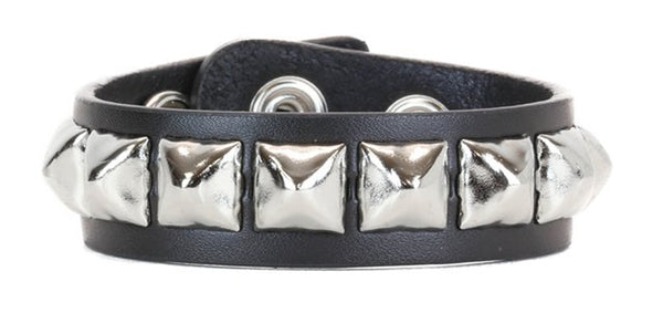 1-Row Silver Pyramid Stud Quality Leather Wristband Bracelet