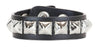 1-Row Silver Pyramid Stud Quality Black Leather Wristband Bracelet