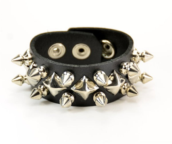 Silver Spikes & Diamond Studs Black Leather Wristband Bracelet Cuff