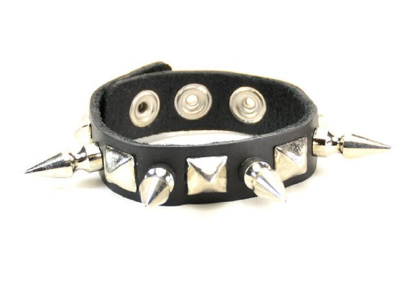 1-Row Silver Spikes & Pyramid Studs Black Leather Wristband Bracelet Cuff
