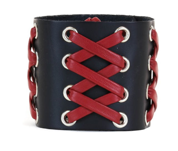 "Black & Red Lace Up Corset Leather Wristband Bracelet Cuff 2-1/2"" Wide"