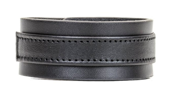 "Black on Black Strip Leather Wristband Bracelet Cuff 1-1/4"" Wide"