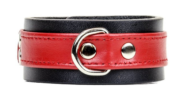 "Red on Black Strip w/ D-Ring Leather Wristband Bracelet Cuff 1-1/4"" Wide"