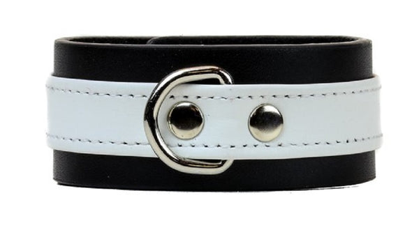 "White on Black Strip w/ D-Ring Leather Wristband Bracelet Cuff 1-1/4"" Wide"