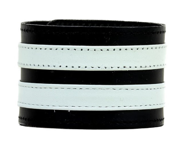 "Double White on Black Strip Leather Wristband Bracelet Cuff 1-3/4"" Wide"