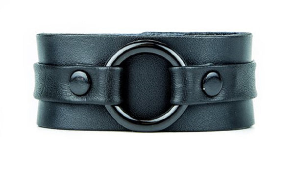 "All Black Strip w/ Black O-Ring Leather Wristband Bracelet Cuff 1-1/4"" Wide"