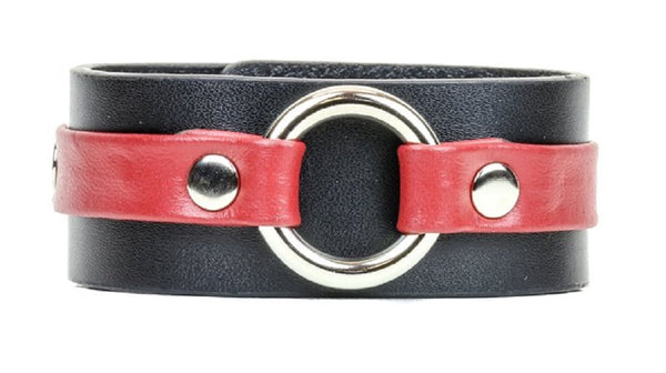 "Red on Black Strip w/ O-Ring Leather Wristband Bracelet Cuff 1-1/4"" Wide"