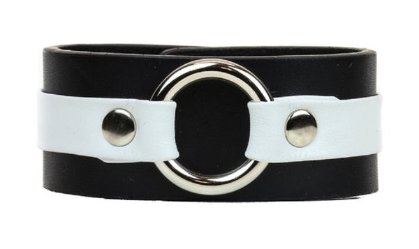 "White on Black Strip w/ O-Ring Leather Wristband Bracelet Cuff 1-1/4"" Wide"