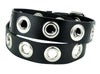 "1"" Silver Eyelet Grommet Black Leather Belt 1-1/2"" Wide"