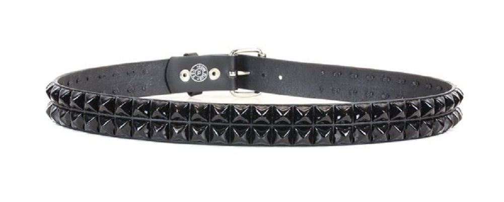 "2-Row Black 5/8"" Pyramid Stud Black Leather Belt 1-1/2"" Wide"