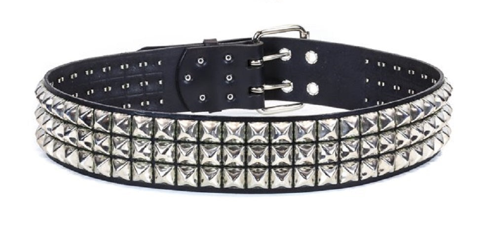 "3-Row Silver 5/8"" Pyramid Stud Black Leather Belt 2 1/2"" Wide"