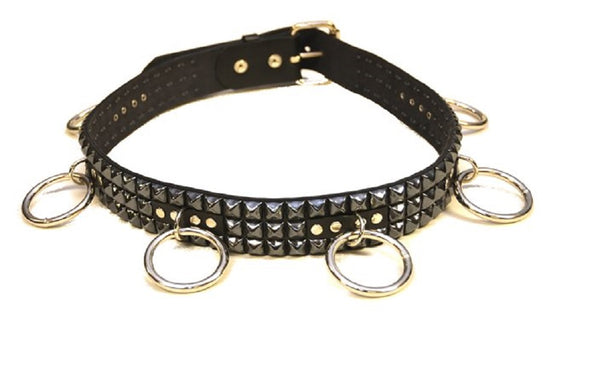 "Black Pyramid Studs & O Rings Black Leather Belt 1-3/4"" Wide"