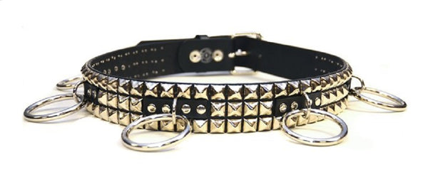 "Silver Pyramid Studs & O Rings Black Leather Belt 1-3/4"" Wide"