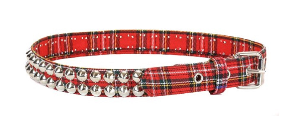 "2-Row Red & Black Plaid Conical Cone Stud Black Leather Belt 1-1/4"" Wide"
