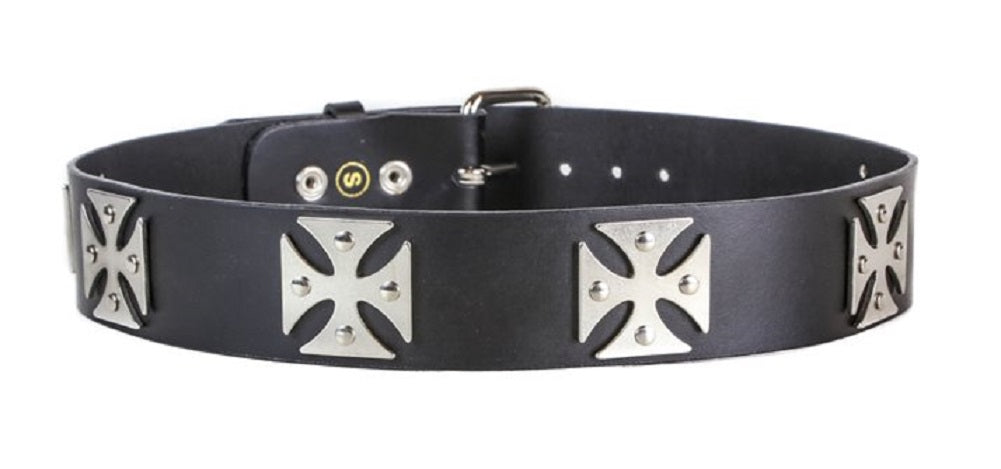 "Silver Iron Cross Black Quality Leather Belt 1-3/4"" Wide"