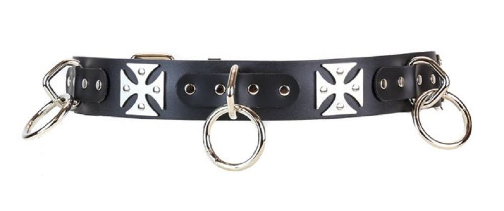 "Silver O-Rings & Iron Cross Quality Black Leather Belt 1-3/4"" Wide"