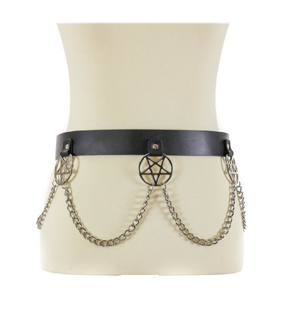 "Hanging Silver 2"" Inverted Pentagram & Chain Black Leather Belt 1-1/2"" Wide"