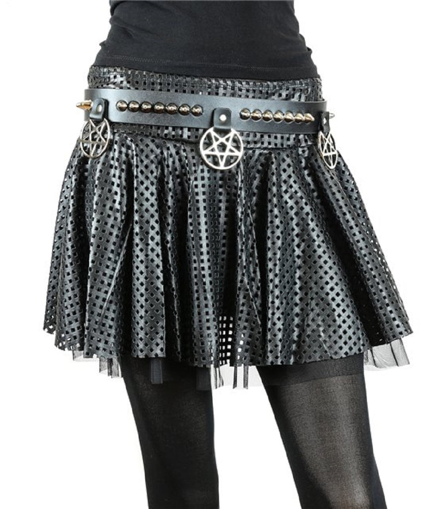"Hanging Silver 2"" Inverted Pentagram & Conical Cone Studs Black Leather Belt 1-1/2"" Wide"