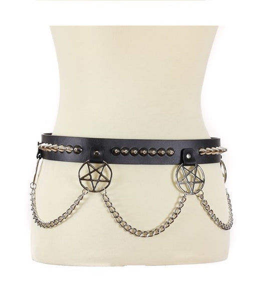 "Hanging Silver 2"" Inverted Pentagram & Conical Cone Studs & Chains Black Leather Belt 1-1/2"" Wide"