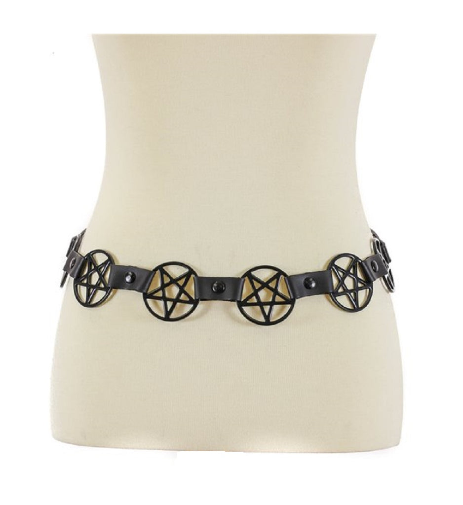 "Black 2"" Inverted Pentagram Link Leather Belt"