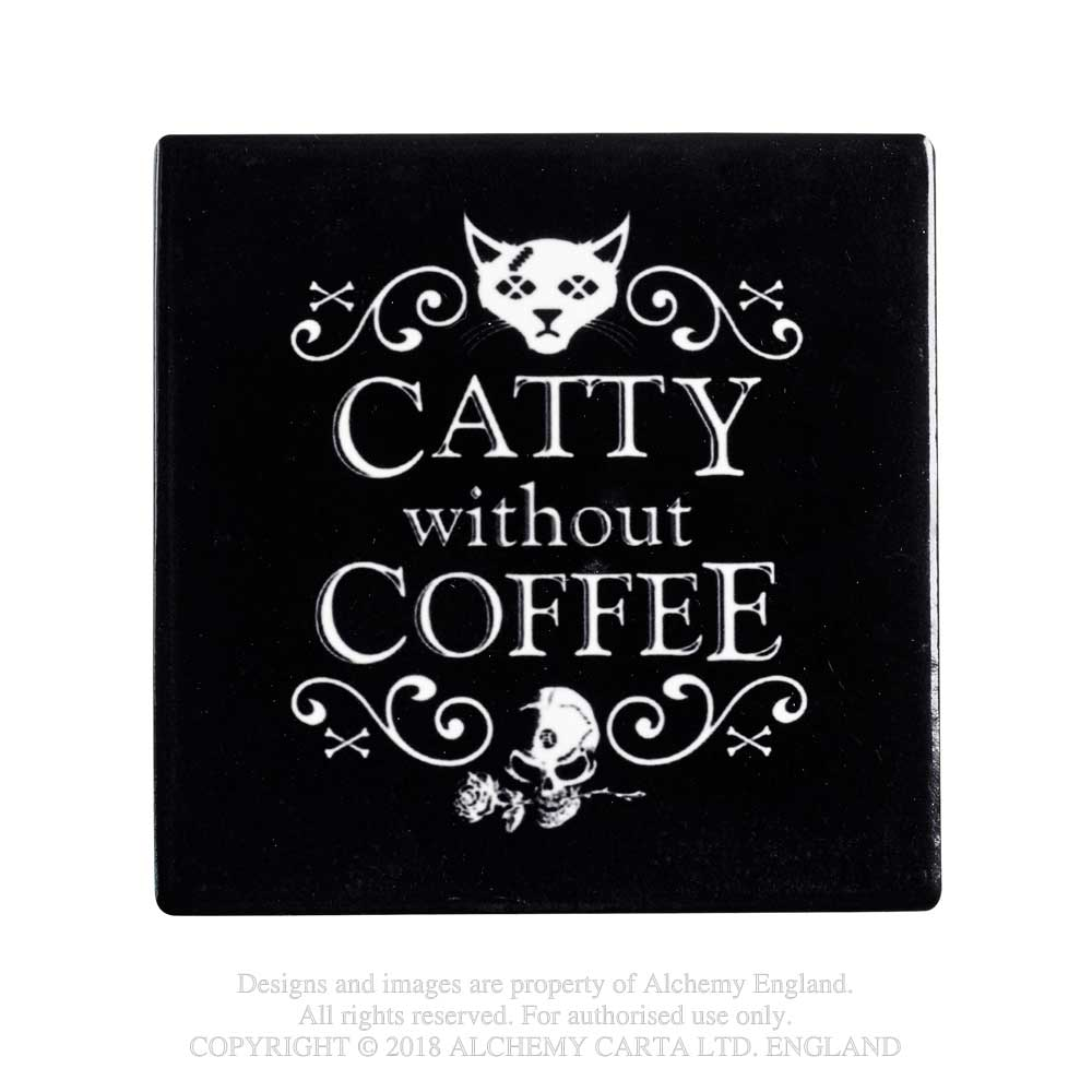 Alchemy Gothic Kitty Catty Without Coffee Coaster Home Decor