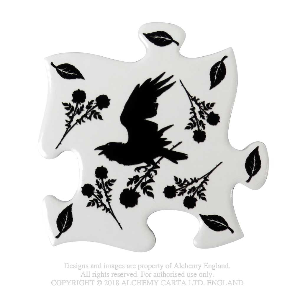 Alchemy Gothic Black Raven & Rose Coaster Set of 4 Home Decor
