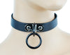 Black O Ring Fetish Leather Choker Cosplay Collar