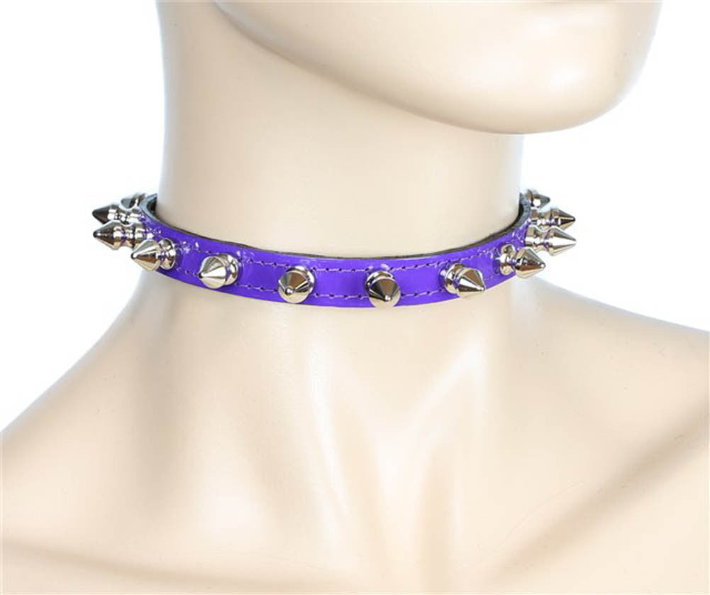 "Purple Patent Leather PVC Thin 1/2 Choker Necklace with 1/2"" Spikes Skinny Collar"