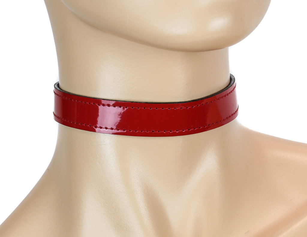"Gothic Red Pvc 3/4"" Wide Plain Choker"